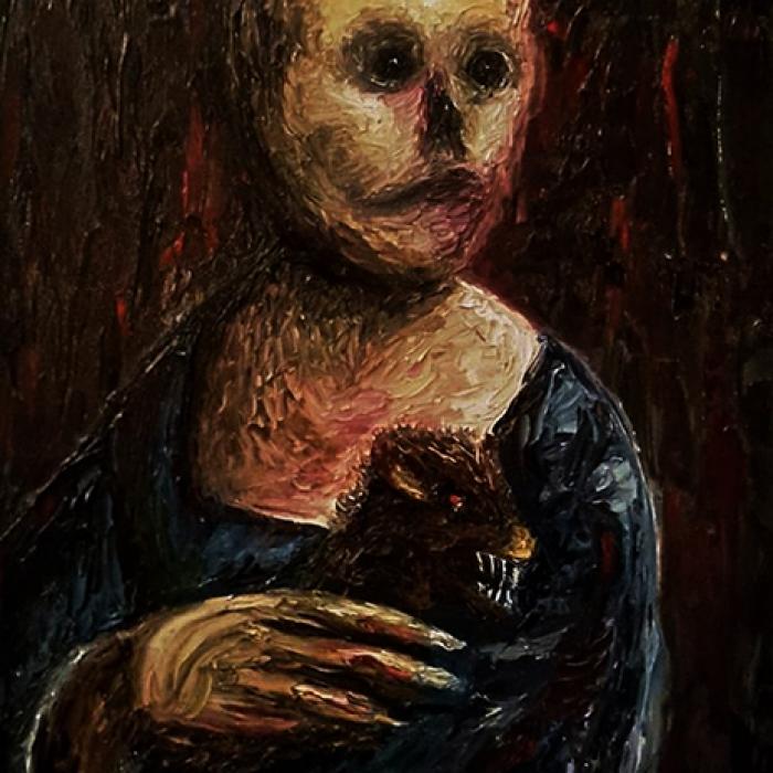 Geisler Gemälde Dame_mit_dem_Hermelin-2017---40x30--Oel-auf-Leinwand